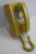 VTG Mid-Century Yellow A/B 554 6-60 Western Electric Bell Rotary Wall Phone MCM