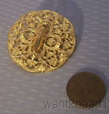 old vtg French GOLD PLATE FILIGREE CICADA PIN lucky bug on fleur de lis openwork