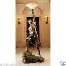 "18TH CENTURY 74"" GREEK MYTHOLOGY SCULPTURAL LAMP  PROMETHEUS  OF FIRE - 110 LBS"