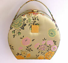 Great Vtg BODY SHOP Padded Floral Silk Cosmetic Beauty Vanity Hard Case Bag