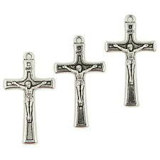 50x New Style Vintage Silvery Alloy Jesus Cross Charms Pendants Beads Findings C