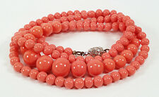 VINTAGE ART DECO GRADUATED CORAL-COLORED GLASS BEADS NECKLACE RHINESTONE CLASP