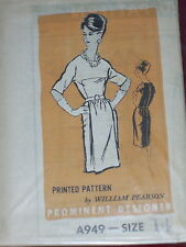 "1960s DESIGNER A949-DESIGNER WILLIAM PEARSON-""JACKIE O"" STYLE DRESS PATTERN 14uc"