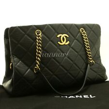 Authentic CHANEL Calfskin 2012 Antique Gold Chain Shoulder Bag Black Quilted f16