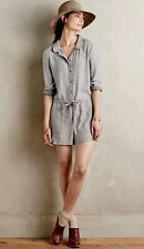 Anthropologie Chambray Romper By Level 99 Gray Sz M $128