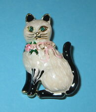 CAT Pin White Fur Black Tail Ears Brooch Green Eyes Pink Roses Ribbon New Kitten