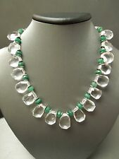 Vintage Estate Sterling Silver Clear Quartz & Green Chrysoberyl Necklace