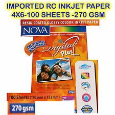 "NOVA DIGITAL INKJET PHOTO PAPER RC HIGH GLOSSY 4"" x 6"" SIZE 100 Sheet 270 GSM"