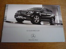 MERCEDES BENZ GL CLASS  PRICE LIST SALES BROCHURE MAY 2007