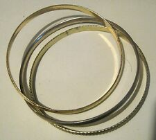 3x Lovely various design gold tone metal bangle style bracelets