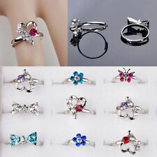 20Pcs Lovely Wholesale Lots Mix Crystal Children Silver Adjustable Kids Rings