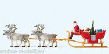Preiser 30399 H0 Weihnachtsschlitten mit 4 Rentieren, Fertigmodell, Neu