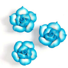 30pcs Fantastic Blue&White Rose Flower FIMO Polymer Clay Spacer Beads 25mm BS
