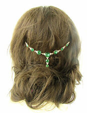 Gold Faux Emerald Green Silver Bridal Headpiece Vine Elvish Medieval Wedding 490