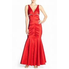 XSCAPE JOANNA CHEN 14 XL cherry red ruched taffeta mermaid gown dress $228