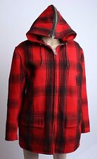 VTG 50's Mens Womens Johnson Buffalo Plaid Hooded Hunting Wool Mackinaw Coat 18