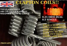 6 X CLAPTON COILS IN 24 GAUGE KANTHAL - 2.4MM FOR RDA/RTA GOON LIMITLESS GRIFFIN