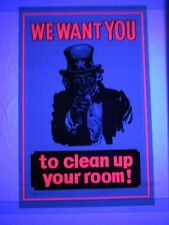 Vintage Psychedelic Blacklight Poster Uncle Sam Clean Up Your Room VERY COOL NOS