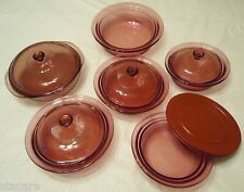 11 pc CORNING WARE Pyrex VISIONS Cranberry Cookware STARTER BAKING SET EXCELLENT