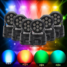 6Pcs Colorful RGBW 4in1 LED Moving Head Light DMX512 Club Party Stage Lighting