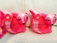 2 Bath & Body Works Scentportable Pink Skunk With Flower Holder Unit Cute