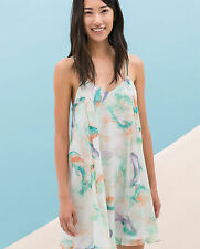 ZARA WOMAN PASTEL ARTY WATERCOLOUR PRINTED STRAPPY MINI DRESS XS 6 8!