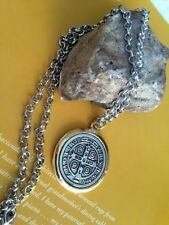"St Benedict Exorcism Medal 1 1/2"" With 24"" Chain Men Gift / Medalla SAN BENITO"