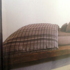 CALVIN KLEIN  KING SIZED FITTED SHEET 100% COTTON BROWN PLAID NWT