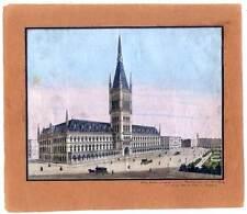 Hamburg-Teilansicht-Rathaus - altkolorierte Lithographie nach Scott um 1850