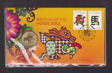 2014 Australia Chinese Lunar New Year Horse PNC $1 Coin Stamp Christmas Island