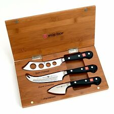 Wusthof Classic 3pc Cheese Knife Set with Bamboo Presentation Box / Case