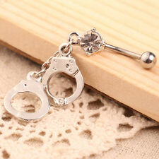 Vintage Handcuffs Pendant Women Belly Button Navel Ring Body Piercing Jewelry