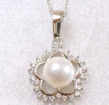Women Fashion White Gold Plated 8mm Pearl Xmas Birthday Flower Pendant Necklace