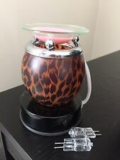Touch Lamp Electric Oil Diffuser Burner Wax Warmer Leopard Animal Print W Bulbs