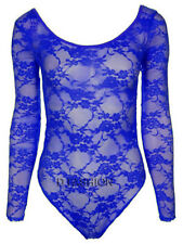 WOMEN MESH LONG SLEEVE LACE TOP BODY SUIT DANCE LEOTARD PARTY PLUS SIZES 16-26
