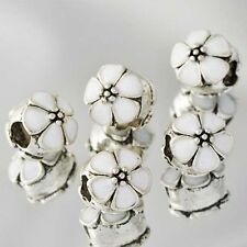 Silver Flower European Beads Enamel For Silver Charm Bracelet Wholesale