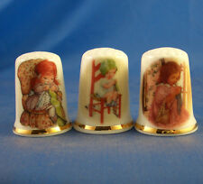 Birchcroft Thimbles -- Set of Three -- Knitting in a Chair
