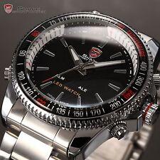 SHARK Men's Luxury Sports Stainless Steel Digital LED Date Quartz Wrist Watch