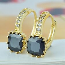 Yellow Gold Filled Hoop Earrings With Shining Black Stone for Women Lady A0069