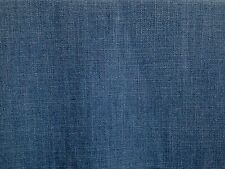 CLARKE & CLARKE HENLEY DENIM BLUE LINEN COTTON PLAIN CURTAIN UPHOLSTERY FABRIC