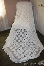 Shabby Cottage Chic Vintage Hand Crocheted Bed Coverlet 84 x 90 White Circles L3