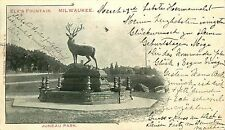 MILWAUKEE WI ELK'S FOUNTAIN AT JUNEAU PARK UDB POSTCARD c1902