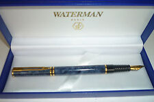 WATERMAN LAUREAT MARBLE  BLUE FOUNTAIN PEN FINE PT  NEW IN BOX