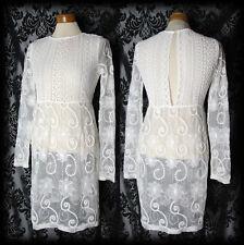 Gothic Bianco Pizzo Dettaglio il cuore spezzato Sheer Dress 8 10 Vittoriano romantico VINTAGE