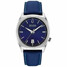 "Bulova Accutron II 96B212 ""SURVEYOR"" 262 KHZ Blue Leather Date Display Watch"