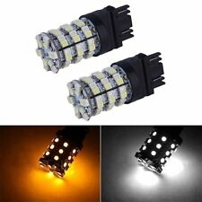 2x 3157 60SMD Dual Color Switchback White Amber Turn Signal LED Light Bulbs 5Y