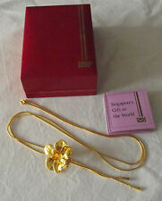 Beautiful 22ct Gold Plated Orchid Necklace RISIS Singapore in Original Box
