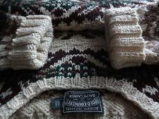 vtg. POLO COUNTRY Ralph Lauren Chunky Wool Indian Hand Knit Sweater - L - NICE!!
