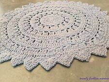 "Hand Crocheted Lace Doily Nursery Rug Gray 36"" Cotton Vintage Style"