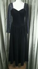 VINTAGE ANNI'80 Laura Ashley BLACK VELVET Pizzo Sera Cocktail DROP Girovita Vestito - 8
